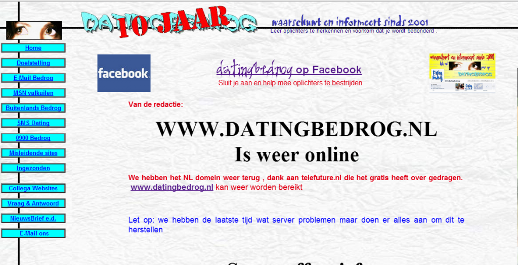 Opgelicht door dating site